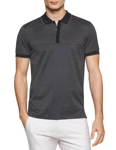 Calvin Klein Textured Yarn-Dye Polo-BLACK-X-Large 88513519_BLACK_X-Large