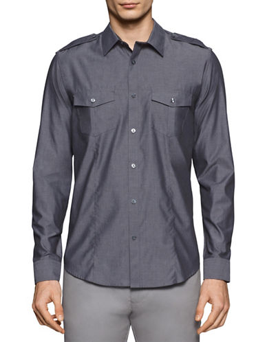 Calvin Klein Yarn Dyed Chambray Utility Shirt-CASTLE ROCK-Small