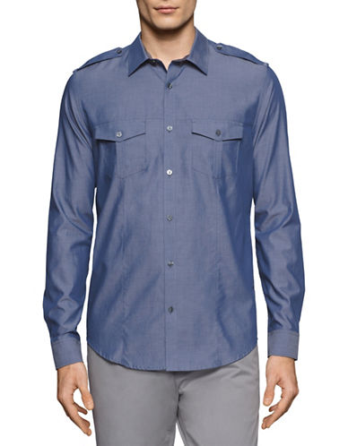 Calvin Klein Yarn Dyed Chambray Utility Shirt-BLUE-Large