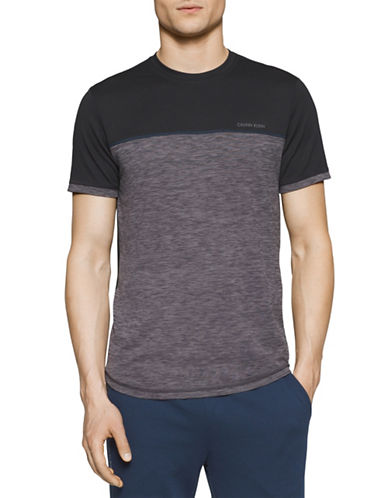 Calvin Klein Loose-Fit Mixed Media T-Shirt-BLACK-Large