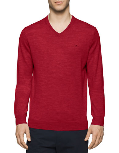 Calvin Klein V-Neck Wool Sweater-RED-X-Large 88672509_RED_X-Large