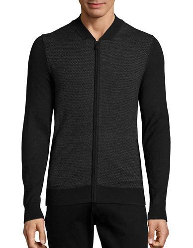 Calvin Klein Merino-Blend Zip-Front Cardigan-BLACK COMBO-Medium 88672515_BLACK COMBO_Medium