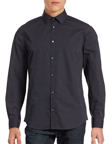 Calvin Klein Infinite Cool Non-Iron Pinstripe Shirt-CARBON-Small