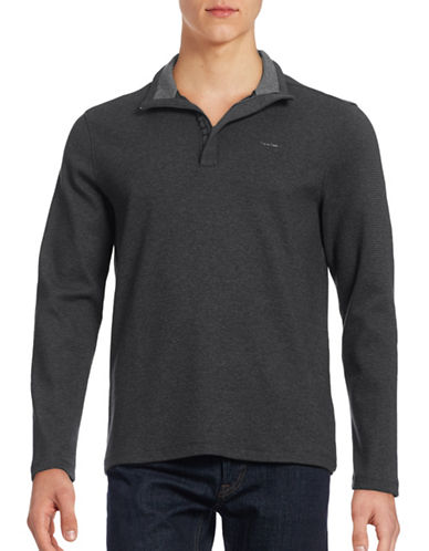 Calvin Klein Zip Placket Pullover-GREY-Small