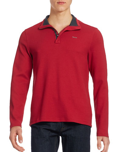 Calvin Klein Zip Placket Pullover-RED-Large