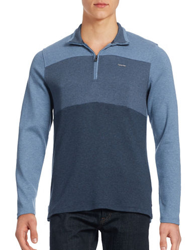 Calvin Klein Zip Placket Sweater-BLUE-Small