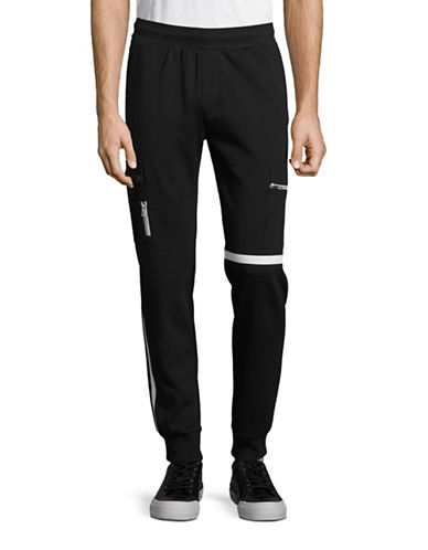 Calvin Klein Striped Cargo Jogger Pants-BLACK-X-Large 88635409_BLACK_X-Large