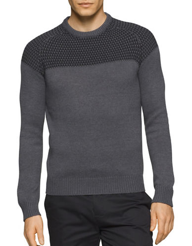 Calvin Klein Textured Yoke Sweater-GREY-Large 88781004_GREY_Large