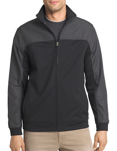 Izod Zip Up Tech Fleece Jacket-BLACK-Small 88676443_BLACK_Small