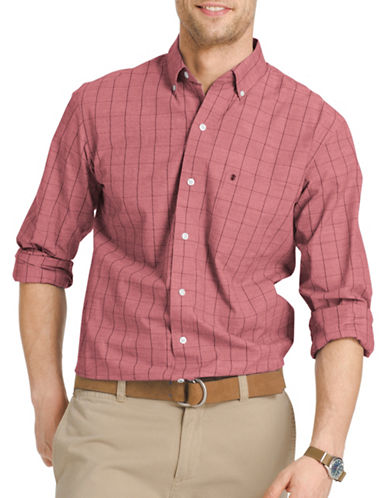 Izod Collarless Woven Shirt-RED-Medium