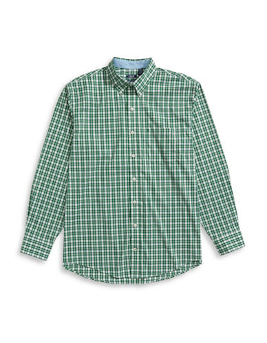 Izod Advantage Checkered Poplin Shirt-GREEN-2X Tall