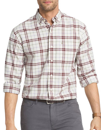 Izod Long Sleeve Plaid Woven Oxford Shirt-VANILLA-Small