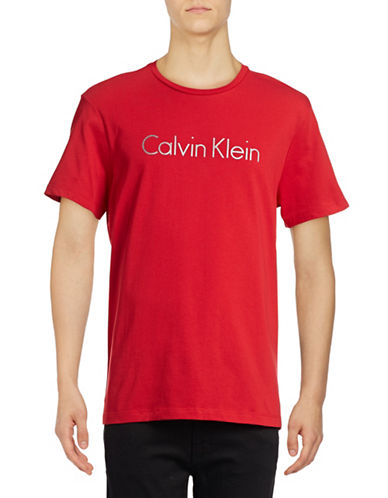 Calvin Klein Logo Front T-Shirt-RED-Large 88916422_RED_Large