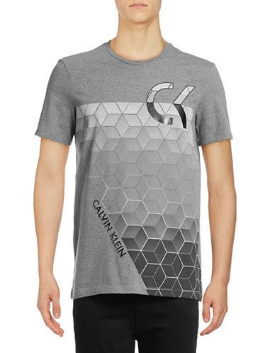 Calvin Klein Cotton Geo Crew Neck T-Shirt-GREY-Medium 88916429_GREY_Medium
