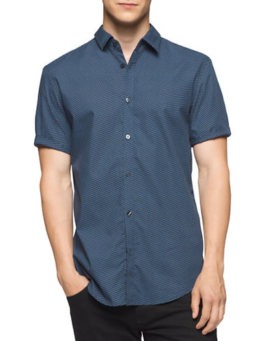 Calvin Klein Graph Deco Sport Shirt-BLUE-Small