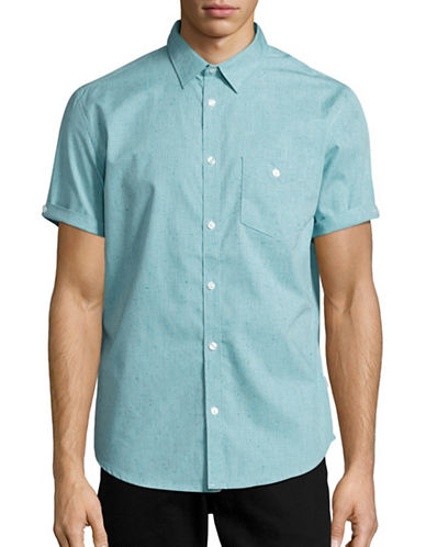 Calvin Klein Classic-Fit Cuffed Chambray Button Shirt-GREEN-Medium