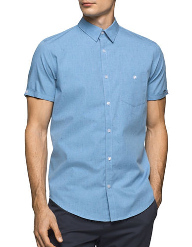 Calvin Klein Classic-Fit Cuffed Chambray Button Shirt-BLUE-Small