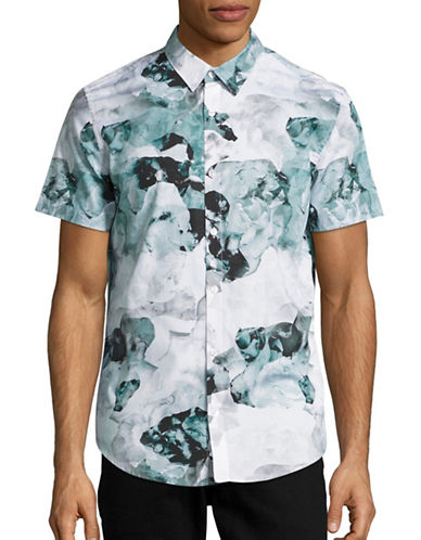 Calvin Klein Modern-Fit Watercolour Floral Sport Shirt-GREEN-Large