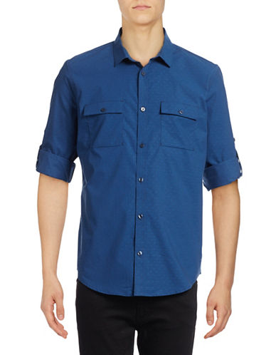 Calvin Klein Chambray Sport Shirt-BLUE-Large
