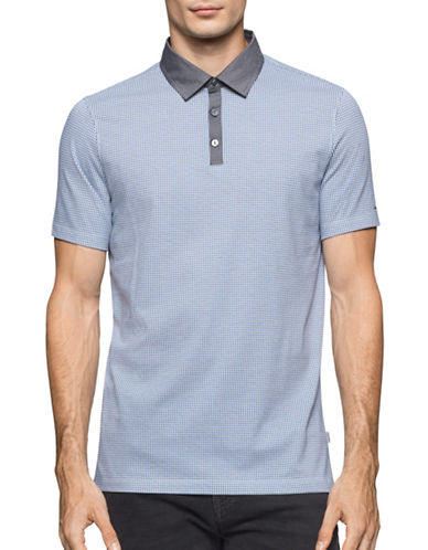 Calvin Klein Micro-Pattern Polo-BLUE-Large 88914259_BLUE_Large