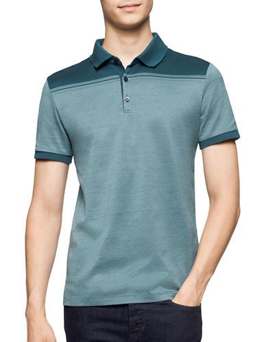 Calvin Klein Premium Cotton Jacquard Polo Shirt-BLUE-X-Large 88914280_BLUE_X-Large