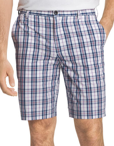 Izod Portsmith Plaid Shorts-BLUE-30
