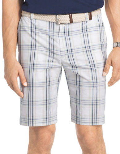 Izod Portsmith Plaid Shorts-GREY-36