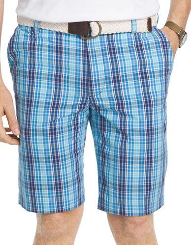 Izod Portsmith Plaid Shorts-BLUE-36