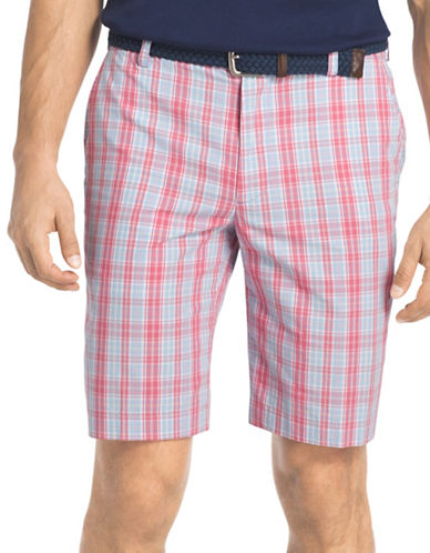 Izod Portsmith Plaid Shorts-PINK-36
