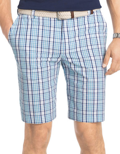 Izod Portsmith Plaid Shorts-BLUE-40