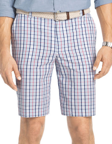 Izod Portsmith Plaid Shorts-RED-40