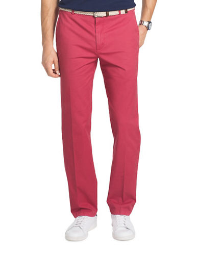 Izod Slim Fit Saltwater Stretch Chinos-RED-30