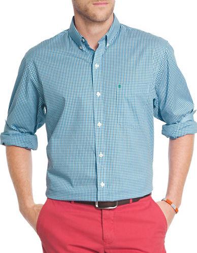 Izod Woven Gingham Shirt-BLUE-X-Large