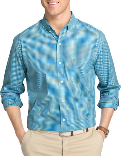 Izod Woven Gingham Shirt-TEAL-X-Large