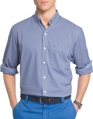 Izod Woven Gingham Shirt-DARK BLUE-X-Large