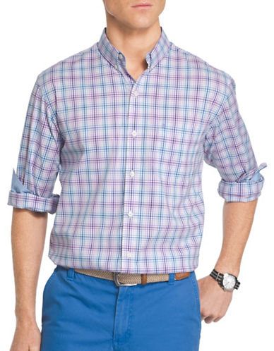 Izod Woven Poplin Shirt-PURPLE-X-Large