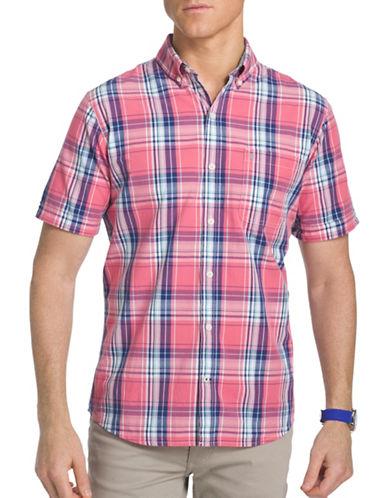 Izod Seaside Poplin Woven Shirt-PINK-Small