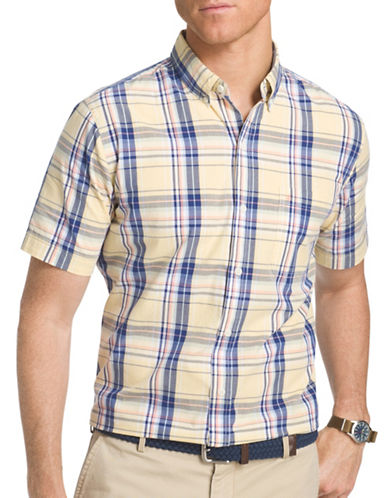 Izod Seaside Poplin Woven Shirt-YELLOW-Medium
