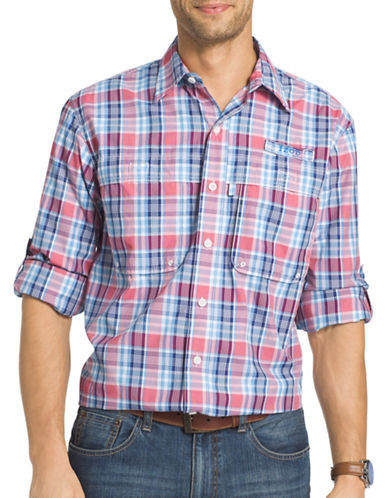 Izod Surfcaster Cotton Plaid Fishing Shirt-RED-X-Large