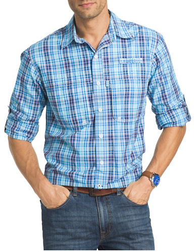 Izod Surfcaster Cotton Plaid Fishing Shirt-BLUE-XX-Large