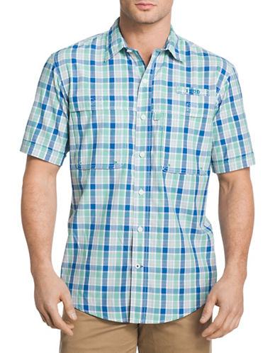 Izod Plaid Fishing Shirt-GREEN-Large