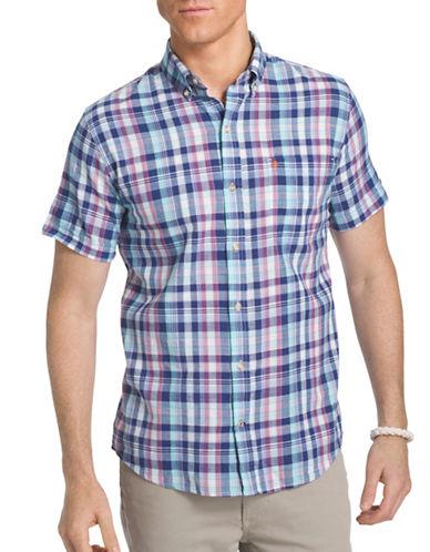Izod Plaid Dockside Sport Shirt-BLUE-Large
