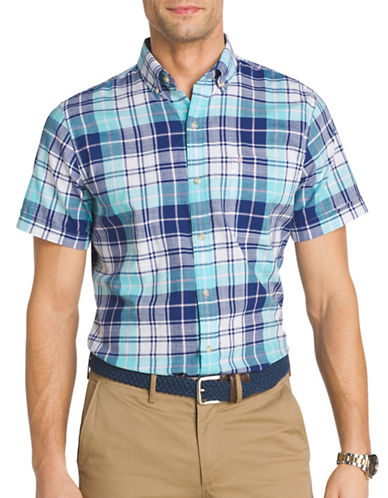 Izod Regular-Fit Plaid Dockside Chambray Button-Down Shirt-BLUE-Small