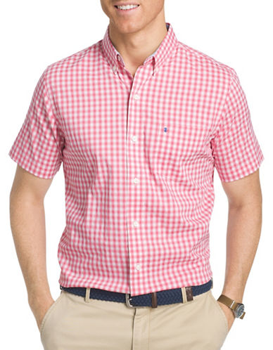 Izod Woven Checked Shirt-PINK-X-Large