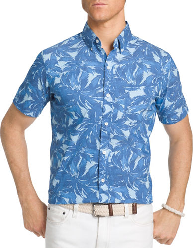 Izod Poplin Palm Printed Shirt-BLUE-Large
