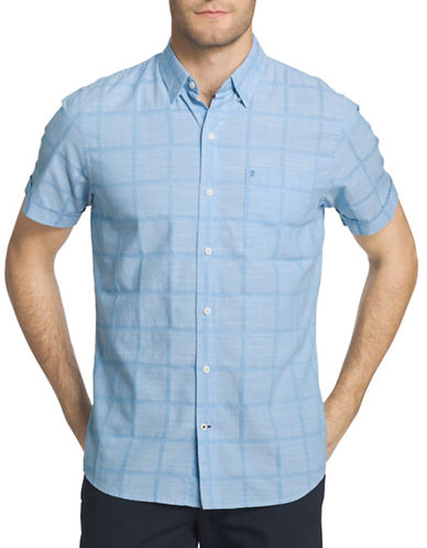 Izod Regular-Fit Slub Windowpane Chambray Shirt-BLUE-Small