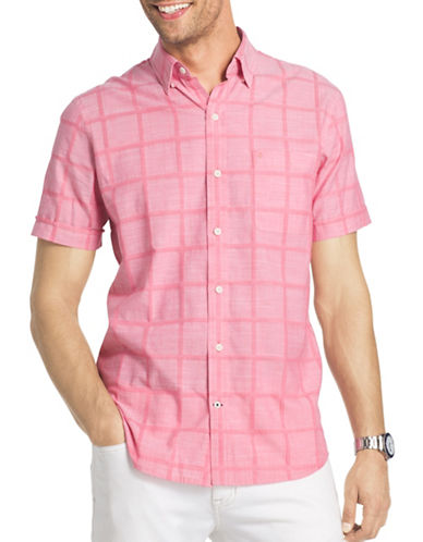 Izod Regular-Fit Slub Windowpane Chambray Shirt-PINK-Small