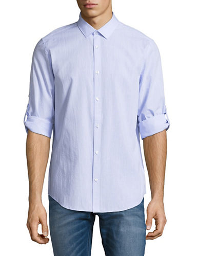 Calvin Klein Seersucker Chambray Sport Shirt-BLUE-X-Large