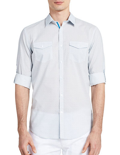 Calvin Klein Roll-up Dress Shirt-BLUE-Large