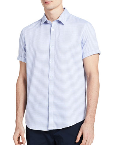 Calvin Klein Striped Woven Sport Shirt-BLUE-X-Large